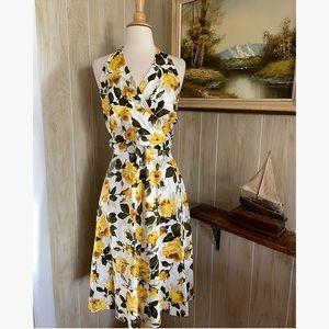 Vintage Yellow Rose Halter Dress